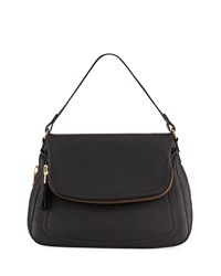 Tom Ford Jennifer Large Grained Leather Shoulder Bag Black