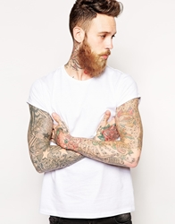 Asos T Shirt With Crew Neck And Roll Sleeve White