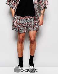 Reclaimed Vintage Aztec Shorts Blue