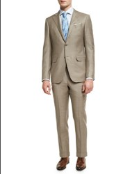Ermenegildo Zegna Sharkskin Two Piece Suit Tan