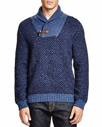 Hugo Boss Boss Orange Shawl Collar Toggle Sweater Medieval Blue