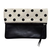 Two Tickets Black Polka Dot Canvas Clutch