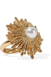 Oscar De La Renta Sun Star Gold Plated Faux Pearl Ring One Size