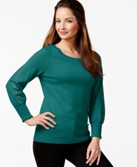 Alfani Embellished Sleeve Sweater Only At Macy's Urban Teal