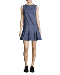 Suno Pleated Chambray Fit And Flare Dress Denim Blue Women's