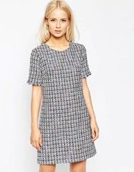 Helene Berman Tweed Shift Dress Whitepurple