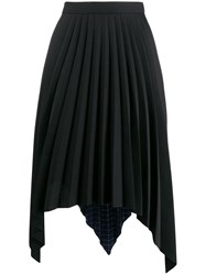 Acne Studios Two Print Pleated A Line Skirt Black