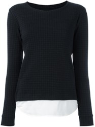 Majestic Filatures Crew Neck Checked Sweatshirt Black