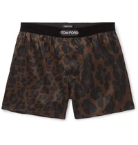 Tom Ford Velvet Trimmed Leopard Print Stretch Silk Boxer Shorts Chocolate