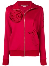 Stella Mccartney Broderie Detail Zipped Track Jacket Red