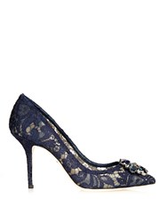Dolce And Gabbana Crystal Embellished Lace Pumps