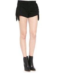 Lamarque Willa Suede Short Shorts With Fringe
