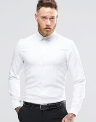 Asos Smart Shirt In White Twill Texture In Regular Fit White