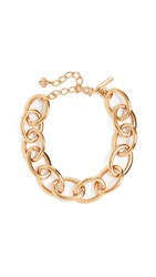 Oscar De La Renta Oversized Chain Link Necklace Gold