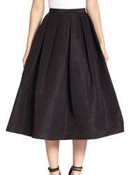 Tibi Silk Faille Pleated A Line Skirt Black