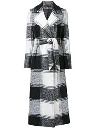 Martin Grant Checked Belted Coat White