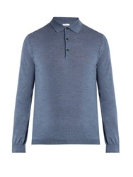 Boglioli Long Sleeved Wool Polo Shirt Light Blue