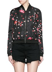 Giamba Ladybug Lip Print Side Zip Bomber Jacket Black Multi Colour