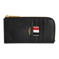 Thom Browne Black Half Zip Around Wallet
