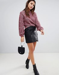 Blank Nyc Leather Effect Mini Skirt Take My Number Black