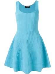Dsquared2 Flared Sleeveless Dress Blue