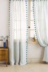 Anthropologie Pom Tassel Curtain Blue