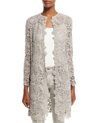 Ralph Lauren Black Label Thora Lace Open Front Long Coat Pebble Gray Women's Pebble Grey