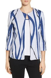 Ming Wang Women's Print Knit Collarless Jacket