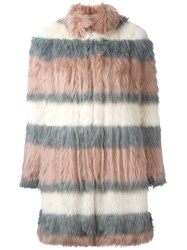 Giamba Striped Fur Coat Pink And Purple