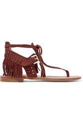 Sigerson Morrison Alysa Fringed Suede Sandals Chocolate