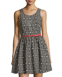 Dex Sleeveless Tribal Print Belted Dress Black White