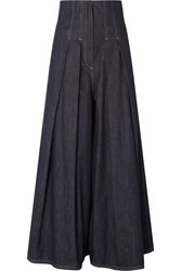 Brunello Cucinelli Pleated High Rise Wide Leg Jeans Blue