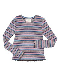 Hannah Banana Striped Ruffle Hem Top Size 7 16 Multi