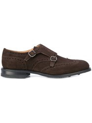 Church's Double Buckled Shoes Men Calf Leather Suede Rubber 7 Brown