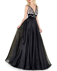 Mac Duggal V Neck Sleeveless Organza And Velvet Ball Gown W Metallic Embroidery Noir