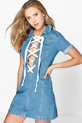 Boohoo Eyelet Lace Up Placket Denim Dress Blue