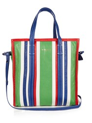 Balenciaga Bazar Small Grained Leather Tote Green Stripe