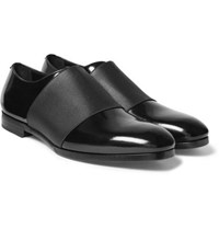 Jimmy Choo Peter Elastic Trimmed Polished Leather Oxford Shoes Black