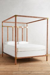 Anthropologie Leather Wrapped Tory Bed Taupe