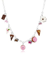 Dolci Gioie Sterling Silver Charm Necklace Multicolor