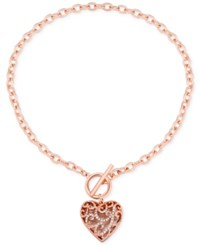Guess Rose Gold Tone Pave Heart Toggle Pendant Necklace
