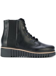 Loriblu Lace Up Platform Boots Calf Leather Leather Polyester Rubber Black