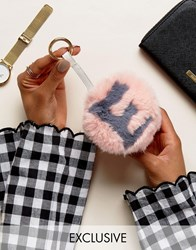My Accessories Faux Fur E Initial Pom Keyring Multi Pink