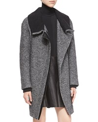 Vince Shawl Collar Asymmetric Zip Coat Women's Black Off White
