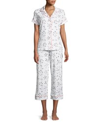 Bedhead Synchronized Swimmers Cropped Pajama Set White Pattern