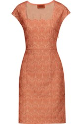Missoni Metallic Crochet Knit Dress Coral