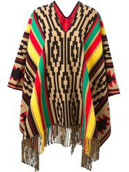 Dsquared2 Striped Aztec Print Poncho Multicolour