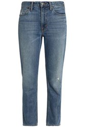 Vince Distressed Faded High Rise Slim Leg Jeans Mid Denim