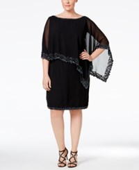 J Kara Plus Size Beaded Cape Dress Black