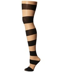 Alice Olivia Horizontal Stripe Tights Nude Black Hose Neutral